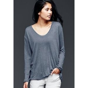 GAP scoop neck long sleeve 100% line t-shirt tee L